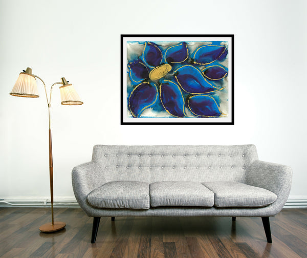 Original Floral Flower Colourful / Colorful Modern Contemporary Acrylic and Ink Painting Artwork - Polypetalous 5 - Deep Blue Petals - Vera Vera On The Wall - Vera Blagev