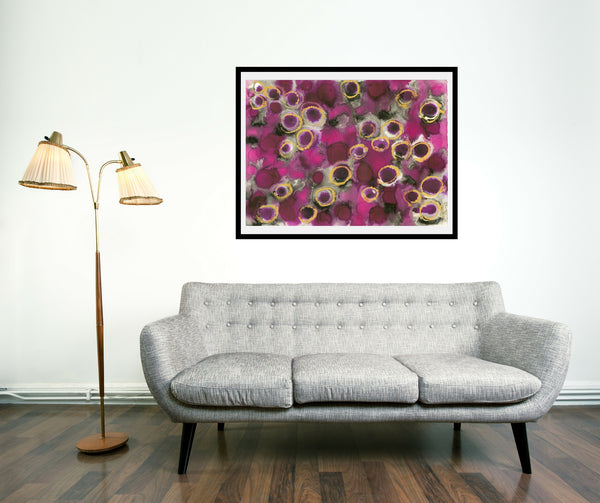 Original Abstract Colourful / Colorful Modern Contemporary Acrylic and Ink Painting Artwork - Lustre 5 - Rose de France and Friends - Vera Vera On The Wall - Vera Blagev