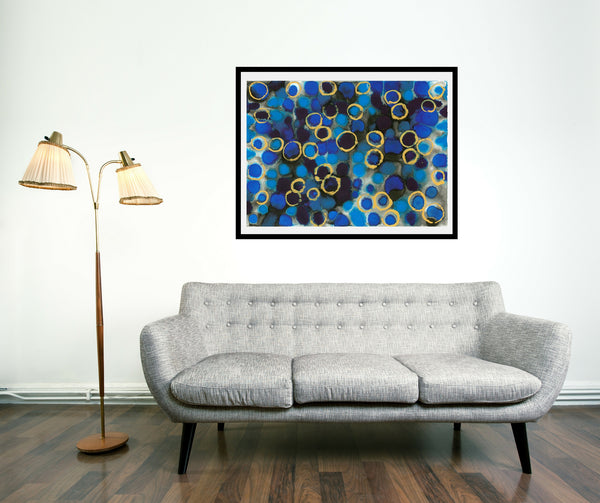Original Abstract Colourful / Colorful Modern Contemporary Acrylic and Ink Painting Artwork - Lustre 6 - Lovely Blues - Sapphire and Topaz - Vera Vera On The Wall - Vera Blagev