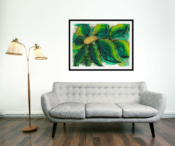 Original Floral Flower Colourful / Colorful Modern Contemporary Acrylic and Ink Painting Artwork - Polypetalous 7 - Green Petals - Vera Vera On The Wall - Vera Blagev