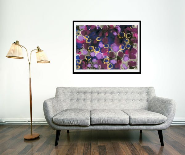 Original Abstract Colourful / Colorful Modern Contemporary Acrylic and Ink Painting Artwork - Lustre 7 - Sapphire and Morganite - Vera Vera On The Wall - Vera Blagev