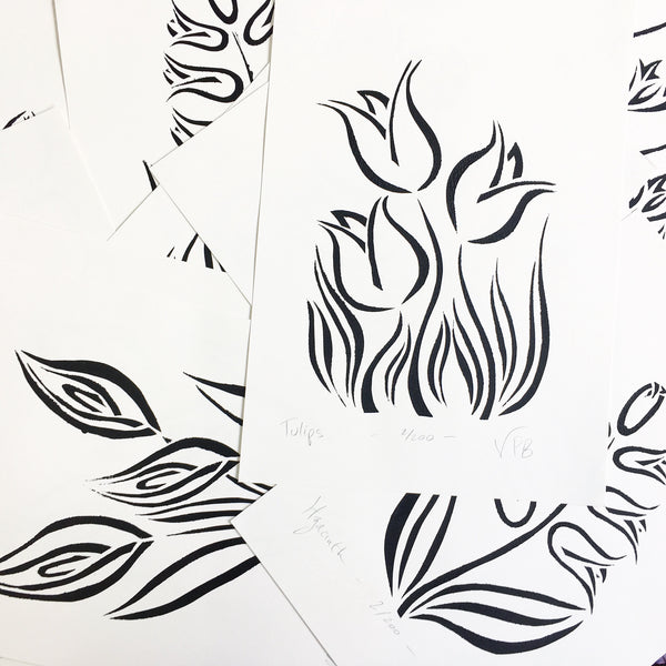 Original Handmade Floral Monochrome Screenprint Limited Edition Flower Artwork - Tulips - 1