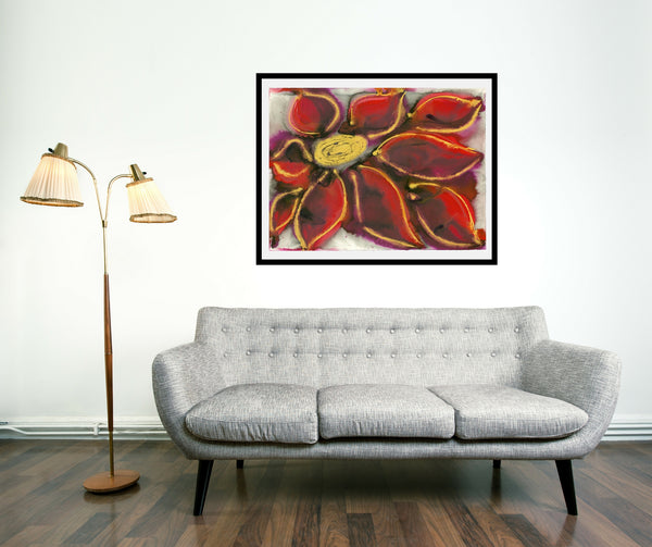 Original Floral Flower Colourful / Colorful Modern Contemporary Acrylic and Ink Painting Artwork - Polypetalous 8 - Ruby Red Dahlia - Vera Vera On The Wall - Vera Blagev