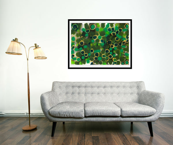 Original Abstract Colourful / Colorful Modern Contemporary Acrylic and Ink Painting Artwork - Lustre 8 - Emerald and Peridot - Vera Vera On The Wall - Vera Blagev