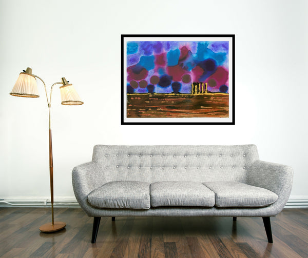 Original Landscape Colourful / Colorful Modern Contemporary Acrylic and Ink Painting Artwork - On The Plain 9 - Blue Playground - Vera Vera On The Wall - Vera Blagev