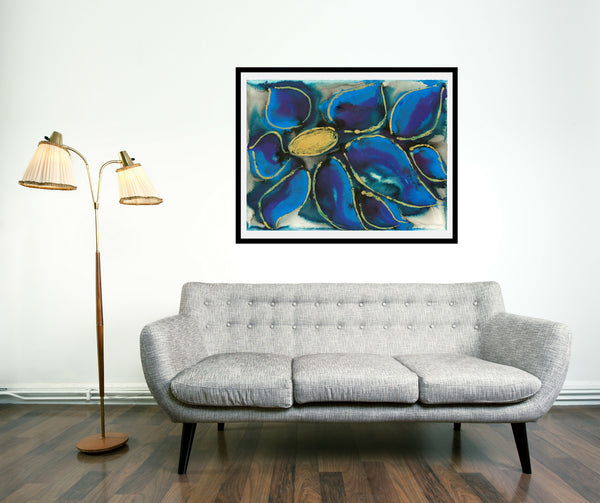 Original Floral Flower Colourful / Colorful Modern Contemporary Acrylic and Ink Painting Artwork - Polypetalous 9 - Blue Clematis - Vera Vera On The Wall - Vera Blagev