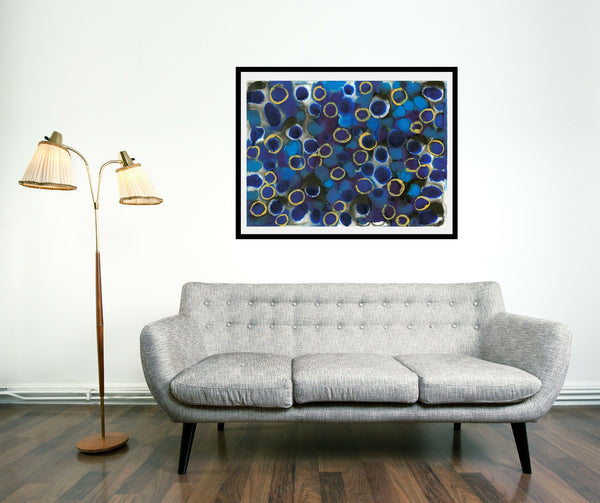 Original Abstract Colourful / Colorful Modern Contemporary Acrylic and Ink Painting Artwork - Lustre 9 - Kyanite and Blue Sapphire - Vera Vera On The Wall - Vera Blagev
