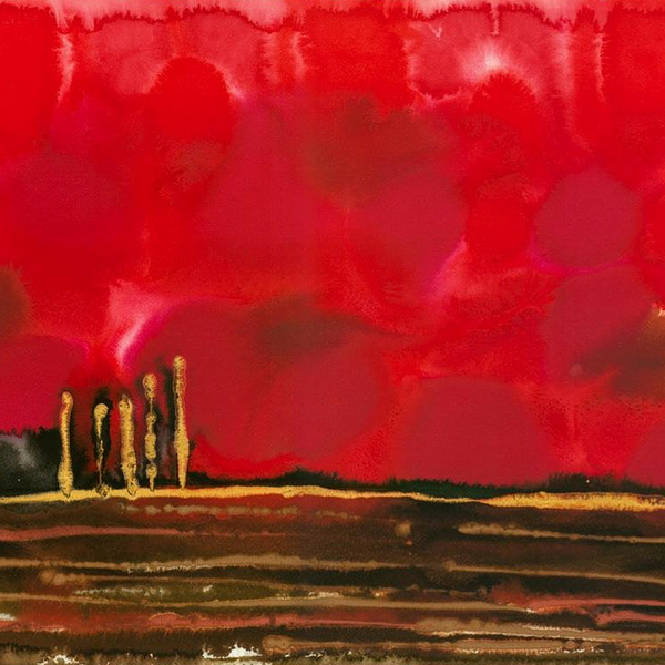 Blood Red Rubies Abstract Landscape Painting