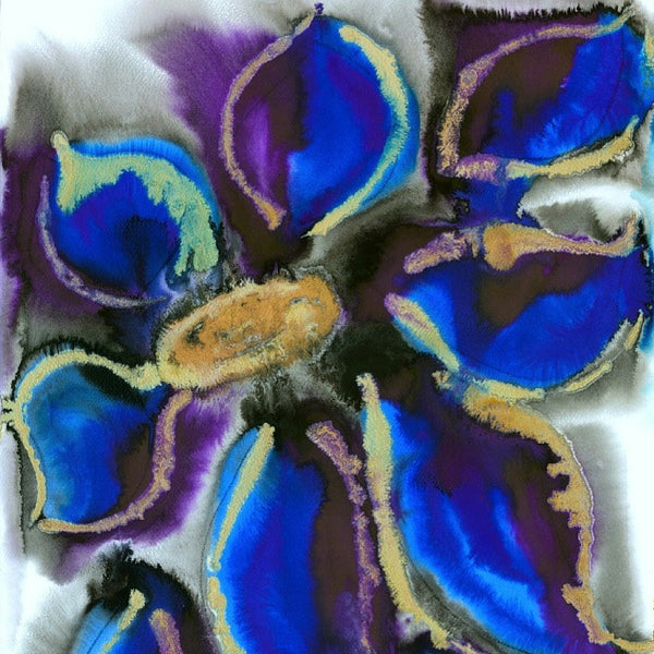 Violet Blue Clematis Abstract Flower Painting