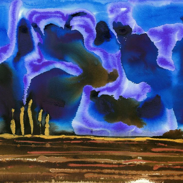 Blue Sapphire Evening Abstract Landscape Painting