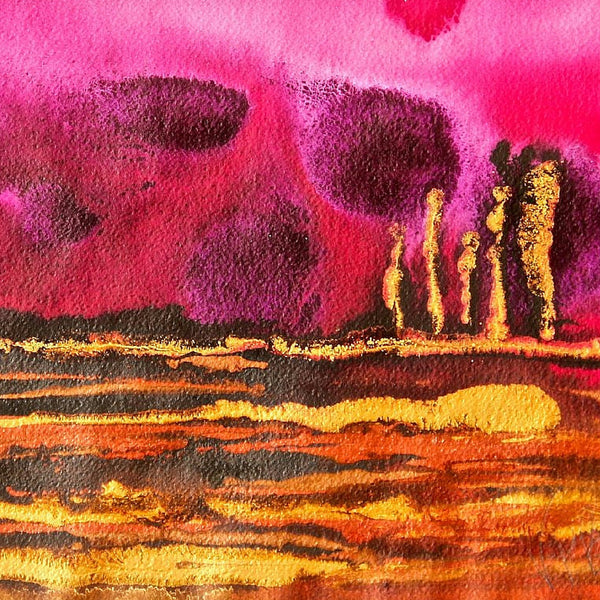 Deep Sunset Small Abstract Landscape Painting