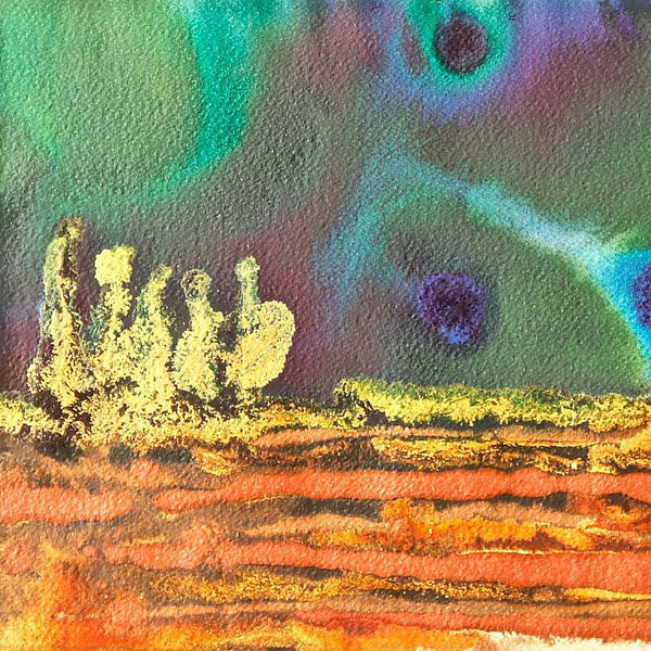 Emerald In The Sky Small Abstract Landscape Painting