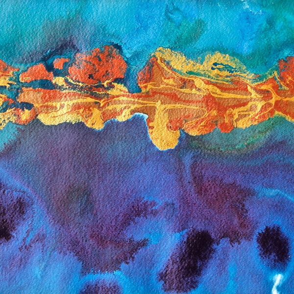 Fun House Shoreline Small Abstract Seascape Painting