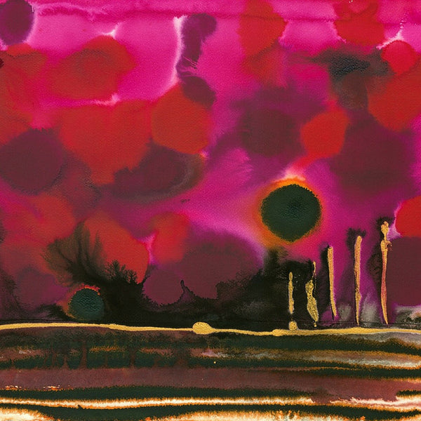 Garnet Sunset Abstract Landscape Painting