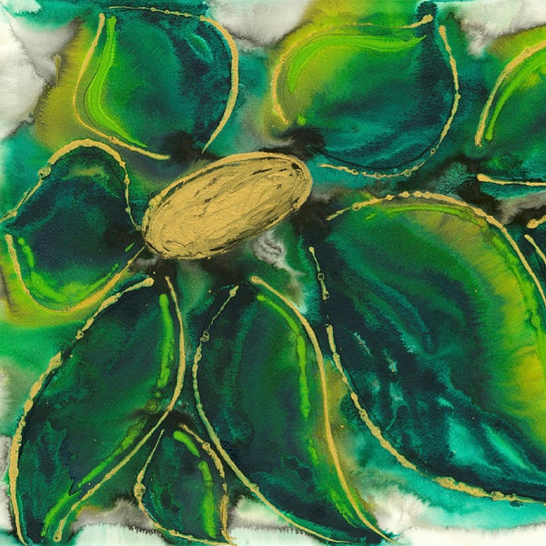 Green Petals Abstract Flower Painting