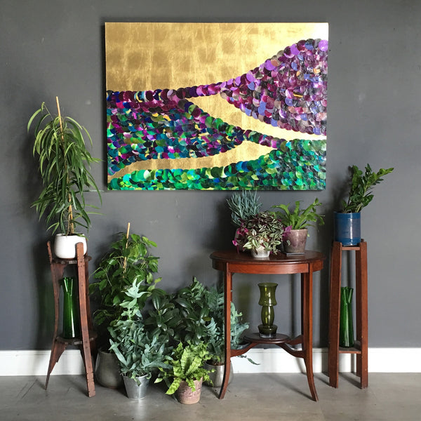 Rolling Green Hills at Purple Sunset Abstract Mixed Media Gold Lust Painting