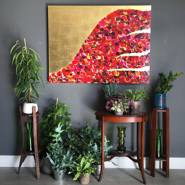Sunset Over the Red Cliffs Abstract Mixed Media Gold Lust Painting