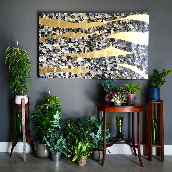 Dawn Mist Waves Crashing Abstract Mixed Media Gold Lust Painting