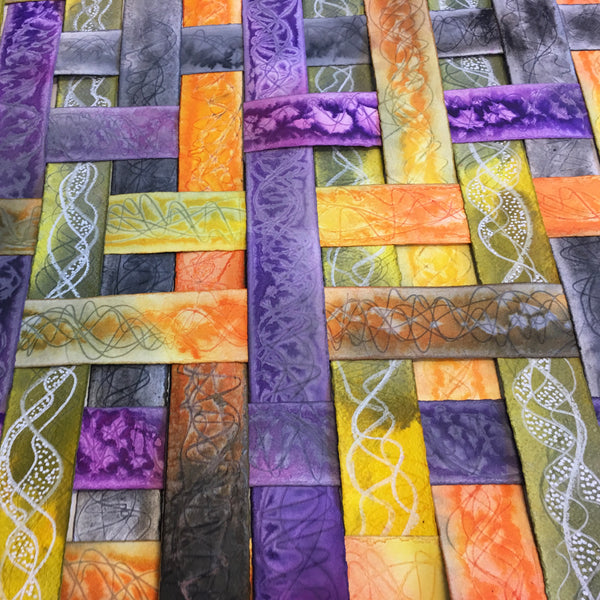 yellow, orange, and purple textured colourful original art by London abstract artist creating mixed media artwork