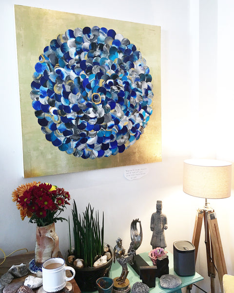 Forget Me Not Meadow Memories Abstract Mixed Media Gold Lust Painting