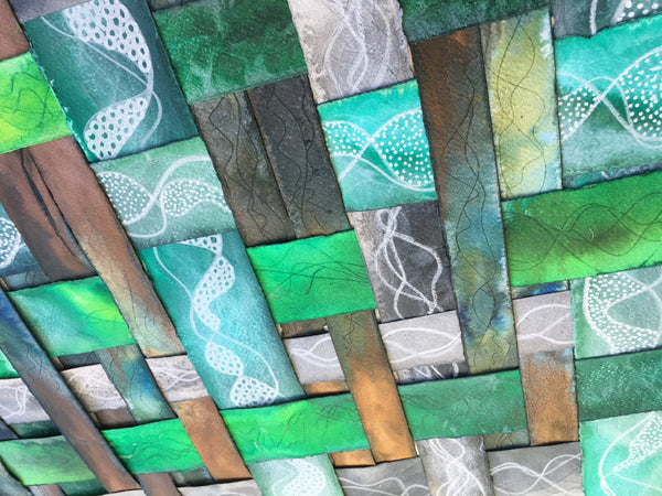 green, copper and blue textured colourful original art by London abstract artist creating mixed media artwork