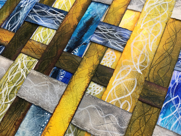 yellow, blue and grey textured colourful original art by London abstract artist creating mixed media artwork