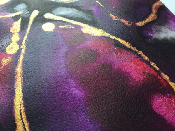 Purple Fuchsia Abstract Flower Painting