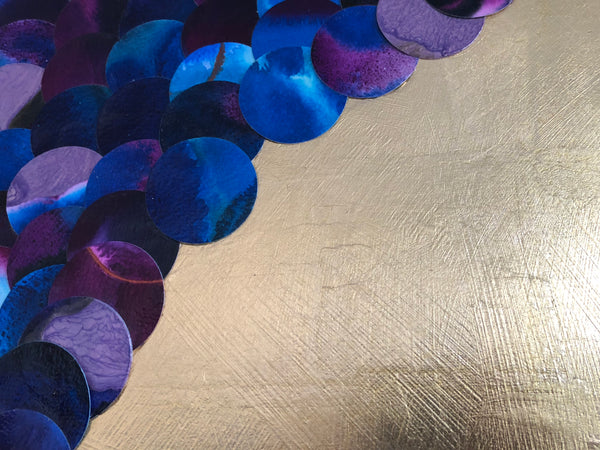 Purple Clematis Reflections Abstract Mixed Media Gold Lust Painting