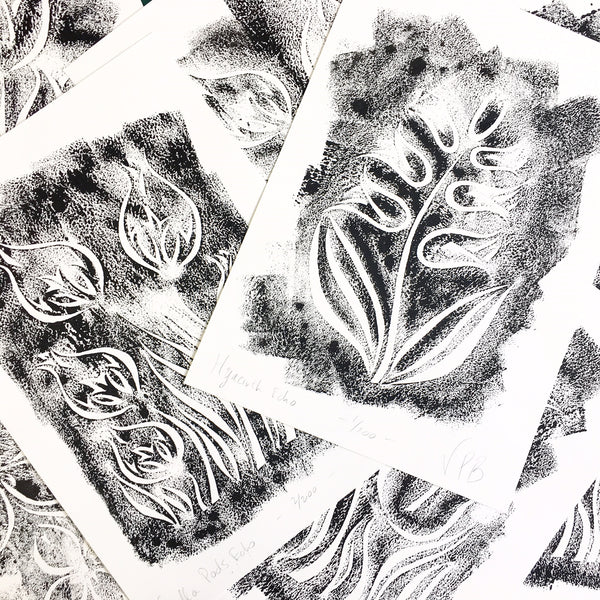 Original Handmade Floral Monochrome Screenprint Limited Edition Flower Artwork - Nigella Pods Echo - 1