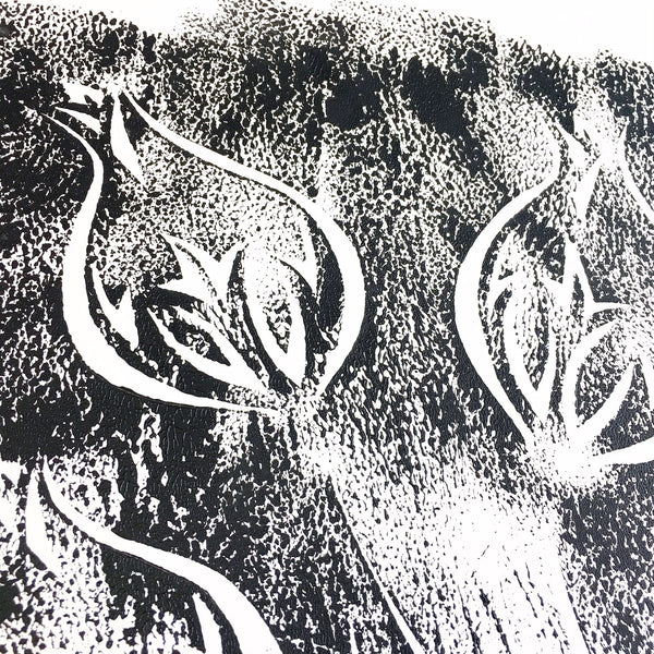 Original Handmade Floral Monochrome Screenprint Limited Edition Flower Artwork - Nigella Pods Echo - 2