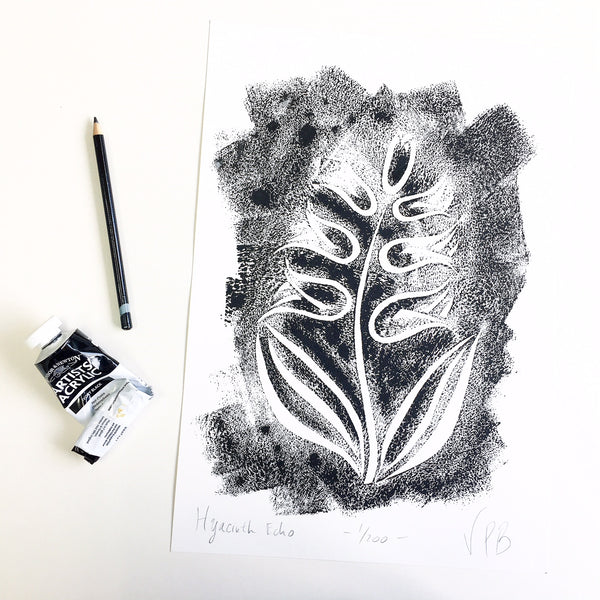 Original Handmade Floral Monochrome Screenprint Limited Edition Flower Artwork - Hyacinth Echo - 1