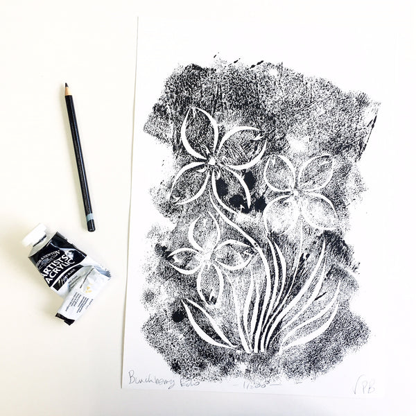 Original Handmade Floral Monochrome Screenprint Limited Edition Flower Artwork - Bunchberry Echo - 1