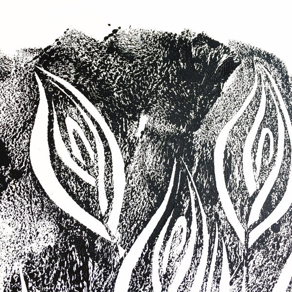 Original Handmade Floral Monochrome Screenprint Limited Edition Flower Artwork - Calla Lily Echo - 1