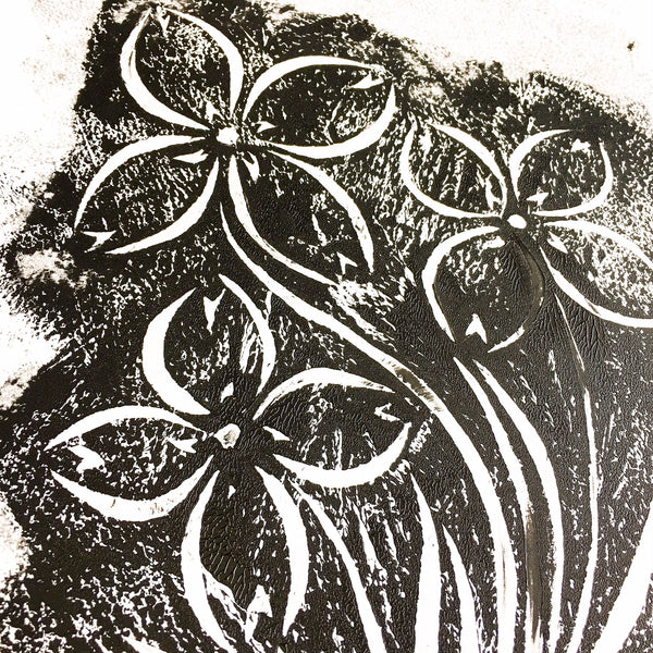Original Handmade Floral Monochrome Screenprint Limited Edition Flower Artwork - Bunchberry Echo - 2