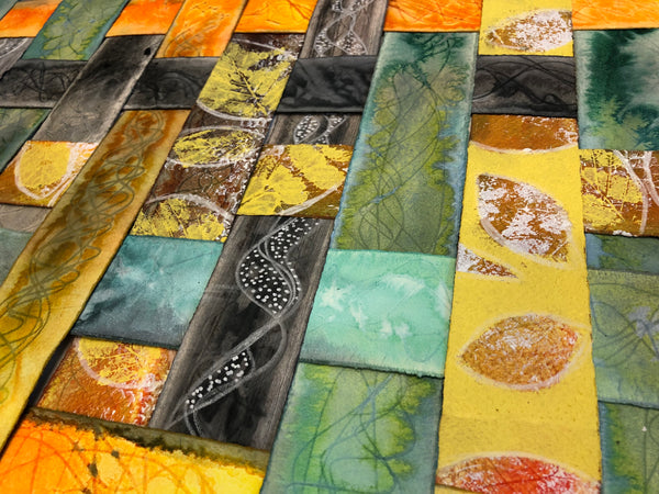 yellow, orange, and green textured colourful original art by London abstract artist creating mixed media artwork with leaf shapes