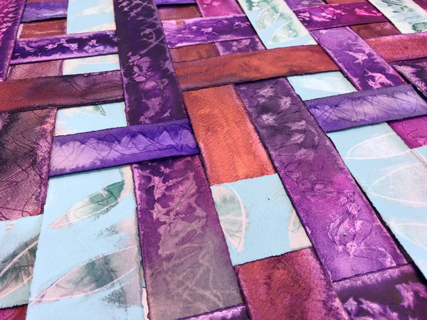 Purple, copper, and green verdigris textured colourful original art by London abstract artist creating mixed media artwork