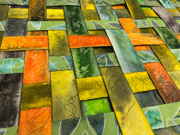 yellow, orange, and green textured colourful original art by London abstract artist creating mixed media artwork