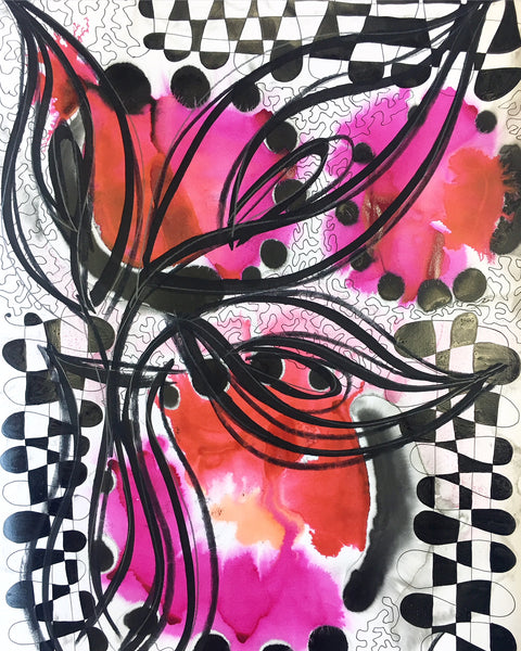 Original Floral Abstract Pattern Mixed Media Artwork - Pink and Red Calla Lily