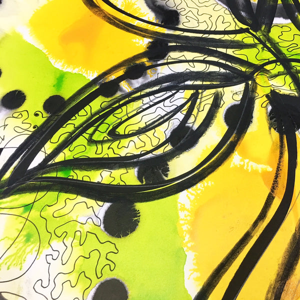 Original Floral Abstract Pattern Mixed Media Artwork - Yellow and Lime Green Calla Lily