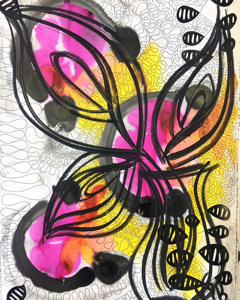 Original Floral Abstract Pattern Mixed Media Artwork - Pink and Yellow Calla Lily