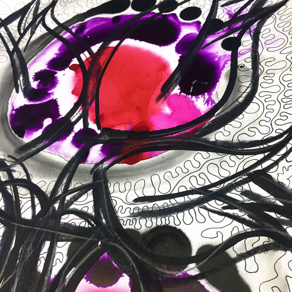 Original Floral Abstract Pattern Mixed Media Artwork - Red and Purple Tulips