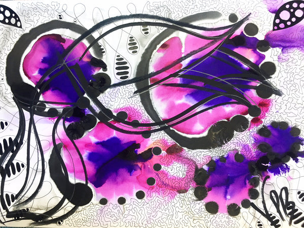 Original Floral Abstract Pattern Mixed Media Artwork - Pink and Purple Tulip