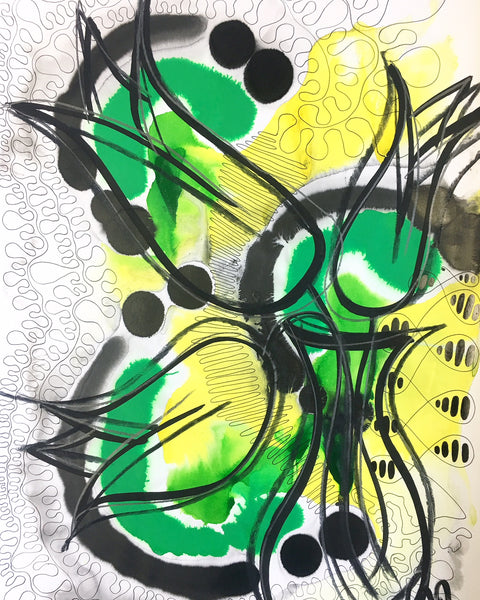Original Floral Abstract Pattern Mixed Media Artwork - Green and Yellow Tulips