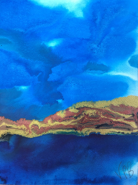 Original Mixed Media Ink Small Format Artwork - Blue Seascape