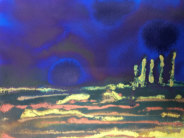 Original Mixed Media Ink Small Format Artwork - Dramatic Blue Sky Landscape