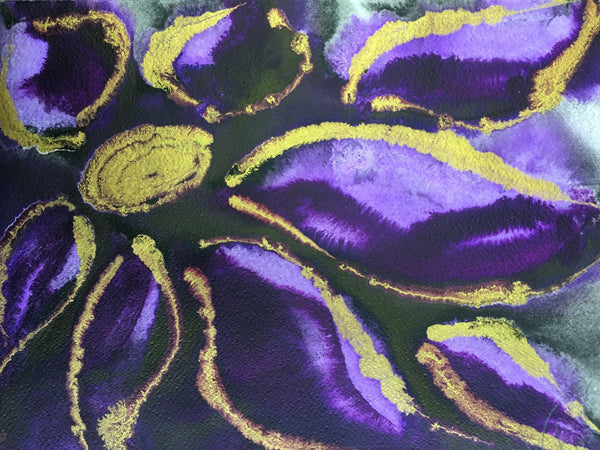 Original Mixed Media Ink Small Format Artwork - Purple and Lavender Floral