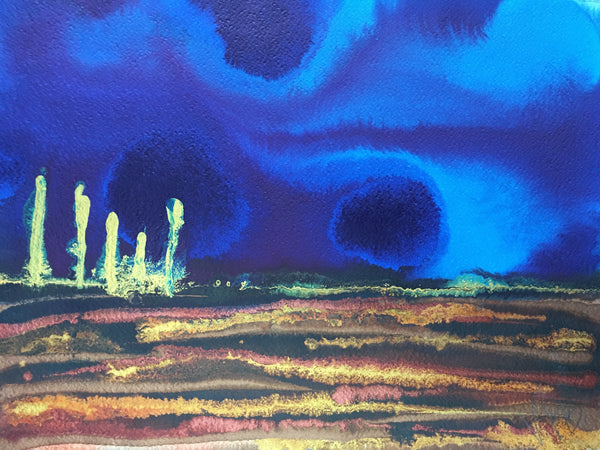 Original Mixed Media Ink Small Format Artwork - Borealis Whispers Sky Landscape