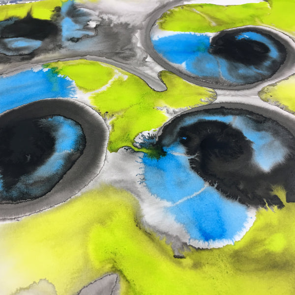 Original Abstract Ink Study Spiral Shape Artwork - Light Blue and Lime Green Colours