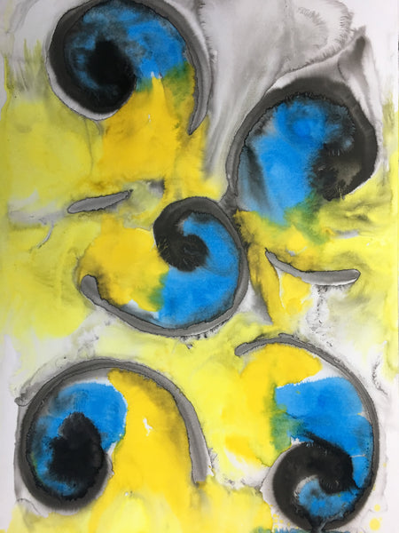 Original Abstract Ink Study Spiral Shape Artwork - Light Blue, Light Yellow, Deep Golden Yellow Colours