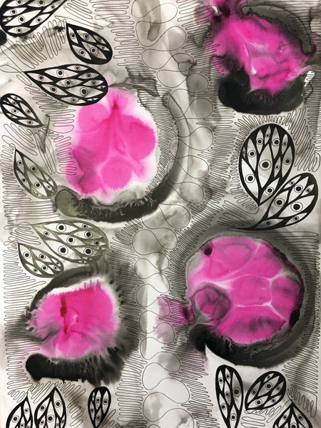 Original Abstract Ink Study Protective Eye Artwork - Hot Pink, Bright Pink Colours